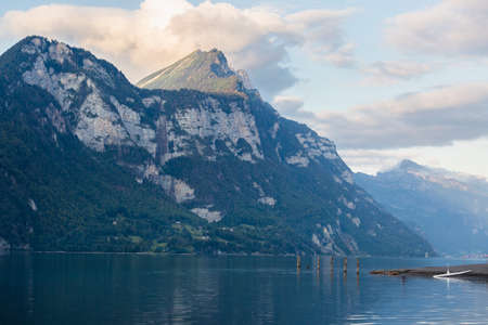 The Lake Walensee and a part of the mountain chain of the Churfirsten, landscape in the Canton St. Gallen in Switzerland