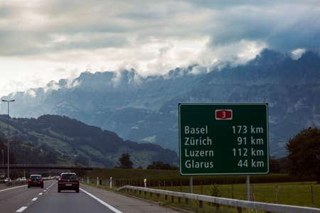 Highway swiss road in Alps mountains, Switzerland Stock Photo