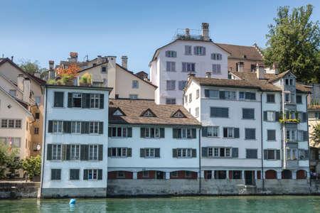 View of historic Zurich city center and river Limmat at Lake Zurich, Canton of Zurich, Switzerland