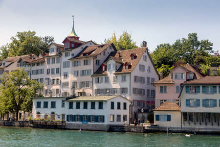 Zurich, Switzerland - 1 August, 2019: view on the historic swiss old town and the Limmat river
