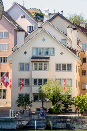 Roofs of old Zurich town and river Limmat, Canton of Zurich, Switzerland