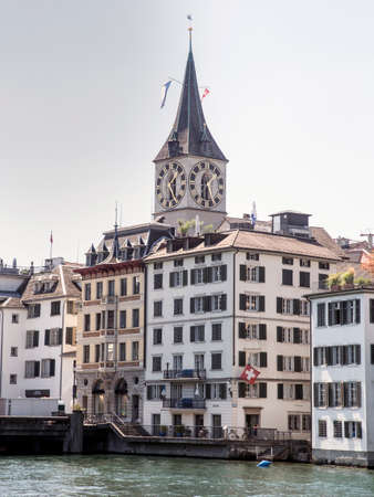 Cityscape of Zurich and river Limmat in daytime with blue sky, Switzerland Editorial