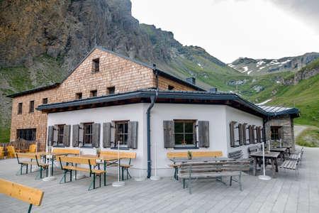 Luckner-Haus or Lucknerhutte near the Grossglockner rock summit in Austrian Alps