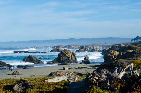 フォート ブラッグ ガラス カリフォルニアビーチ 写真素材