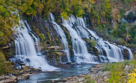 waterfall: Twin Falls Rock Island State Park Tennessee Stock Photo
