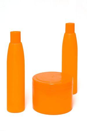 Orange bottles Stock Photo