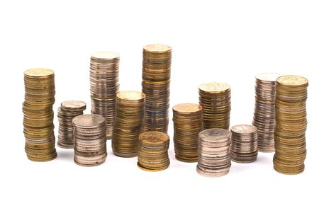 Bars coins on white background Stock Photo