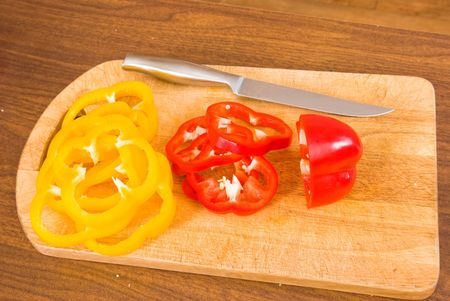 The pepper cut by rings Stock Photo