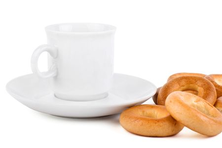Light breakfast with the drink ant dry bagels Stock Photo