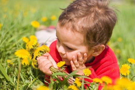 flowers boy: Pensive boy with dandelions Stock Photo