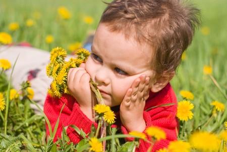 Pensive boy with dandelions Stock Photo