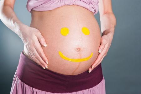 Yellow smilies on the abdomen of pregnant women