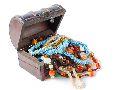 The treasure chest on a white background
