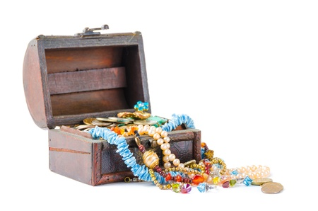 Open the treasure chest on a white background