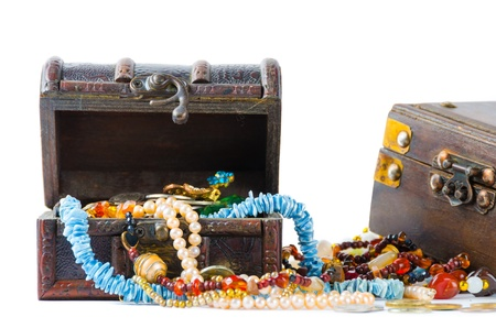 Two chest of jewels, isolated on white background Stock Photo