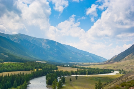 The river flows in a mountain valley  Stock Photo