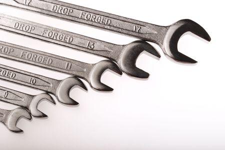 Chromo wrench tools on white background Stock Photo