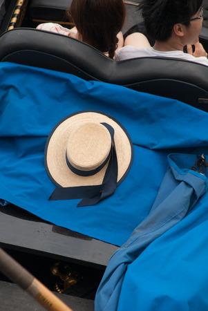 Venetian gondola with straw hat