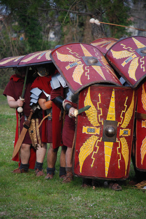 Roman legionaries in defensive position