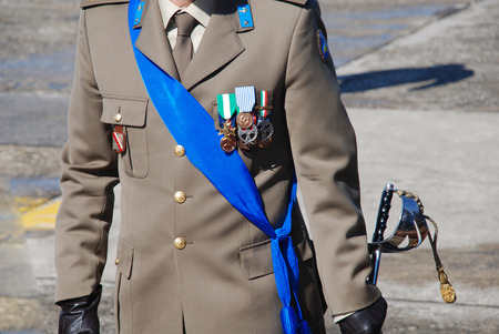 Italian army officer with medals Editorial