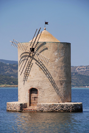 Spanish mill in the lagoon of Orbetello Italy Stock Photo