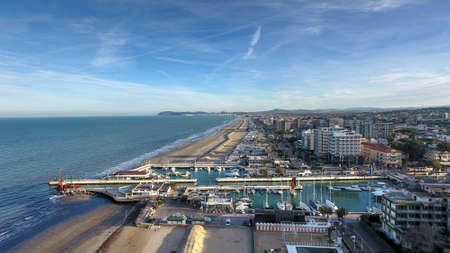 Riccione view of the harbor and beach in winter
