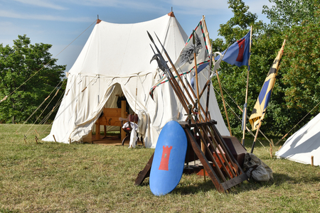 Medieval camp with spears and weapons