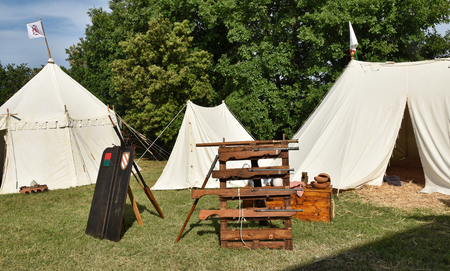 medieval camp with firearms