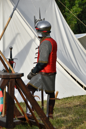 medieval tent with captain of fortune Stock Photo