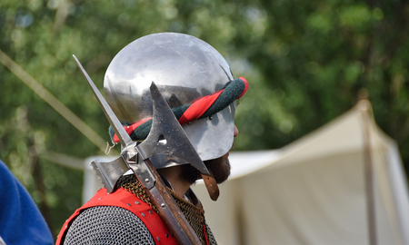 medieval soldier with helmet and ax