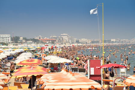 Riccione beach crowded with tourists in mid-August