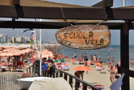 sign of the sailing school in Riccione