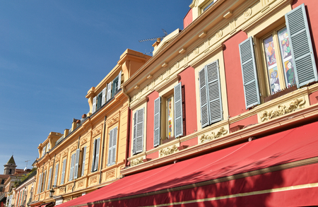 nice old building with colored windows and facade Stock Photo