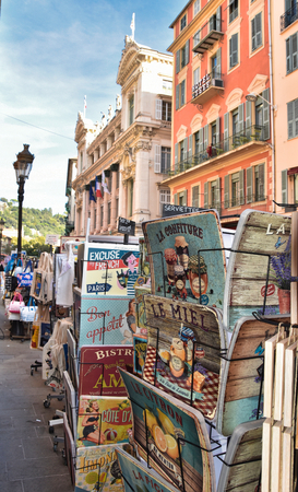 Nice, France, old town, especially street with postcards Editorial