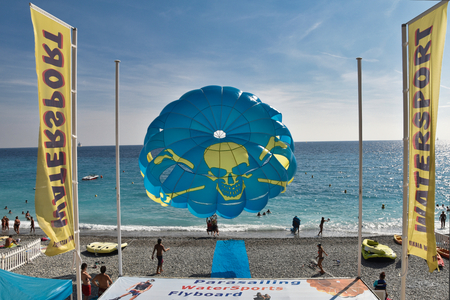 parasailing to the sea starting from the beach