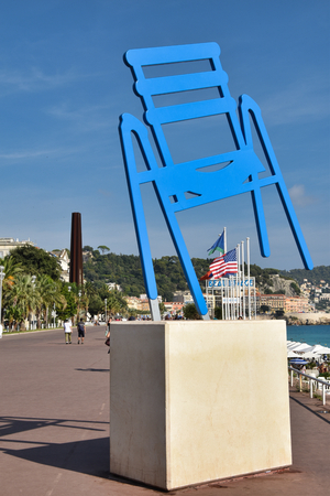 monument to the blue chair of Charles Tordo in Nice on the promenade des anglais