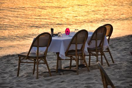 restaurant on the beach at sunset