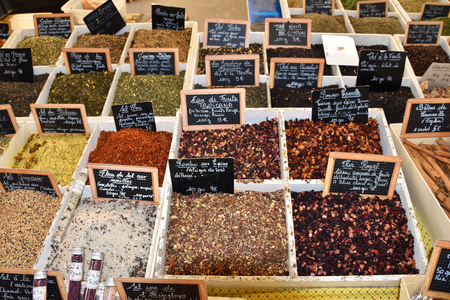 spices and rare salt collected in box at the market