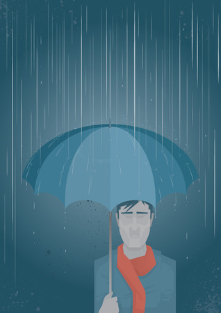 An emotional man under an umbrella which is shielding him from the pouring rain  Illustration