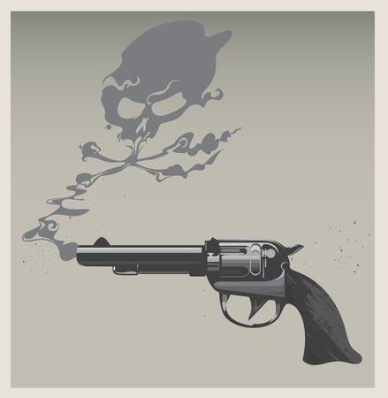 A revolver with gun smoke shaped like a skull