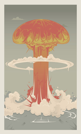 atomic explosion: A gigantic mushroom cloud from a nuclear bomb  Illustration