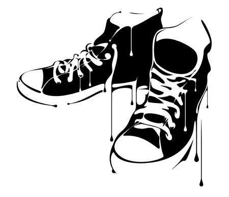 paint drip: A pair of Painted Sneakers Illustration