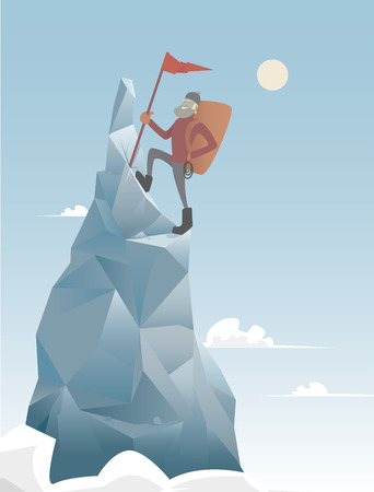 mountains and sky: A man triumphantly climbing to the summit of a mountain peak  Illustration