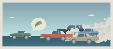 Een eco auto racen een bende van oude vervuilende auto's Stock Illustratie