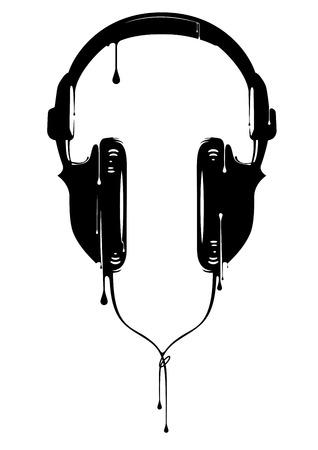 audifonos dj: Pintado Auriculares Vectores
