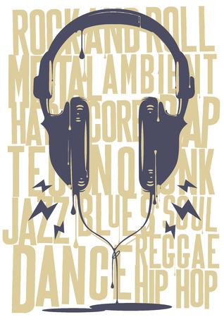 reggae: Casque peints avec de la musique