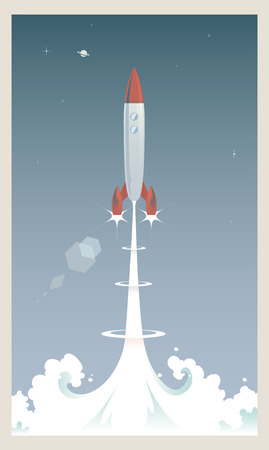 A retro styled rocket launching into the sky
