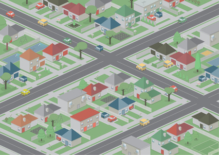 urban sprawl: An isometric, bird s eye view of a cute, peaceful neighbourhood
