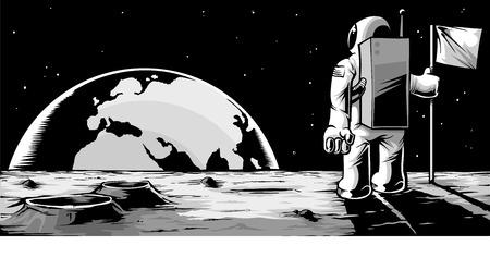 月の表面の上に立って、上昇地球を見て宇宙飛行士