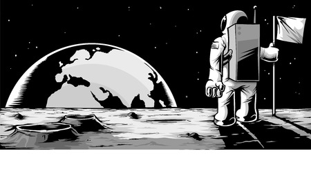 An astronaut standing on the surface on the moon, looking back at the earth rising  Иллюстрация